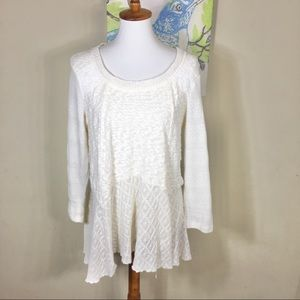 Meadow Rue Ivory Skirted Limay Pullover Sweater